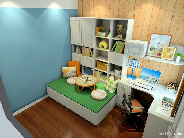 满足了茶室需求书房效果图_维意定制家具商城