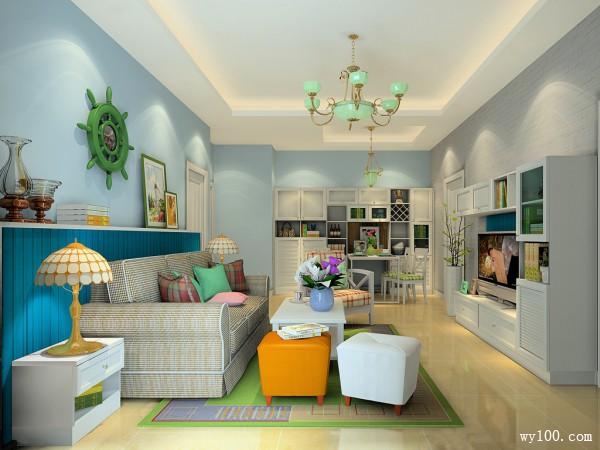 清新舒适客餐厅设计效果图_维意定制家具商城