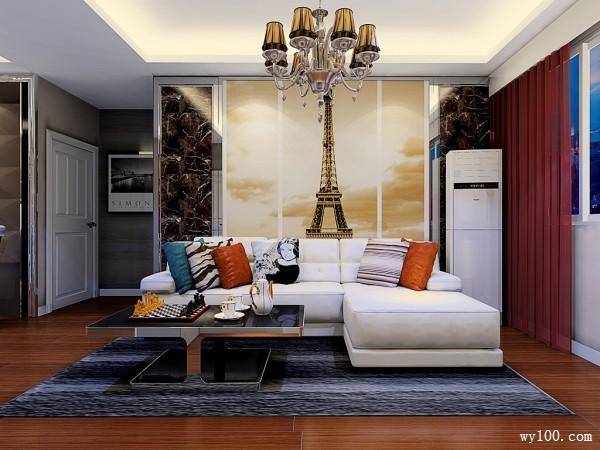 铁塔背景墙客餐厅效果图 39�O电视柜装出高端感_维意定制家具商城