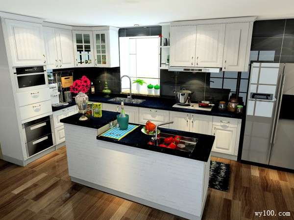 L型厨房装修效果图 16�O橱柜+收纳+配色_维意定制家具商城