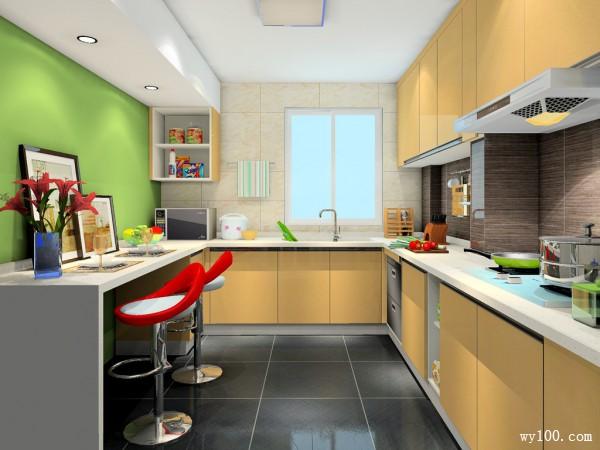 吧台厨房效果图 勾起你想做饭的欲望_维意定制家具商城