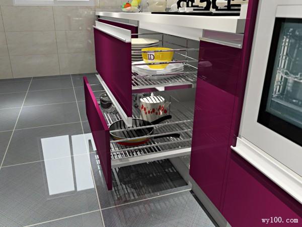 紫色简洁厨房 10�O紫罗兰般的芬芳浪漫空间_维意定制家具商城