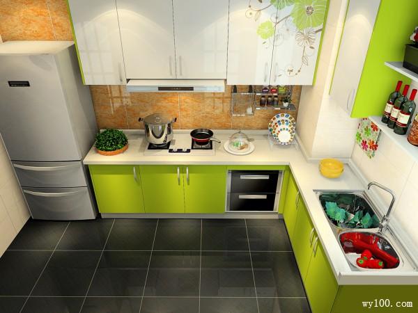 L型橱柜厨房装修效果图 6�O有柱子厨房一招解决_维意定制家具商城
