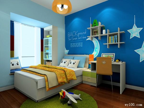 蓝色儿童房装修效果图 9�O送给孩子的静谧之夜_维意定制家具商城
