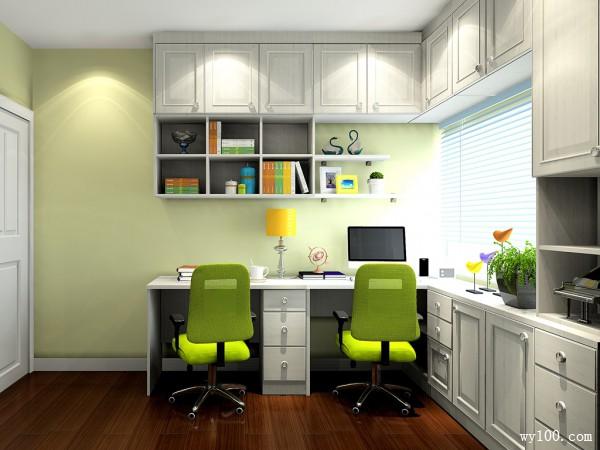 时尚吊柜书房效果图 7�O一体化设计_维意定制家具商城
