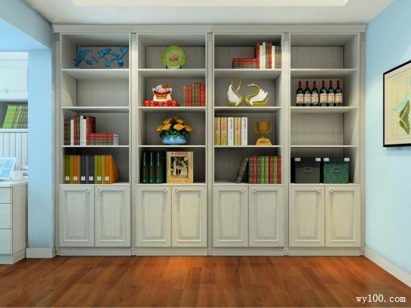 书柜书房装修效果图 12�O整排书柜简洁大方_维意定制家具商城