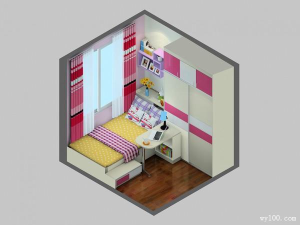 温馨女孩房效果图 6�O组合家具解决小空间难题_维意定制家具商城
