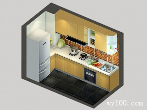 I型厨房效果图 5�O轻松搞定突兀柱子_维意定制家具商城