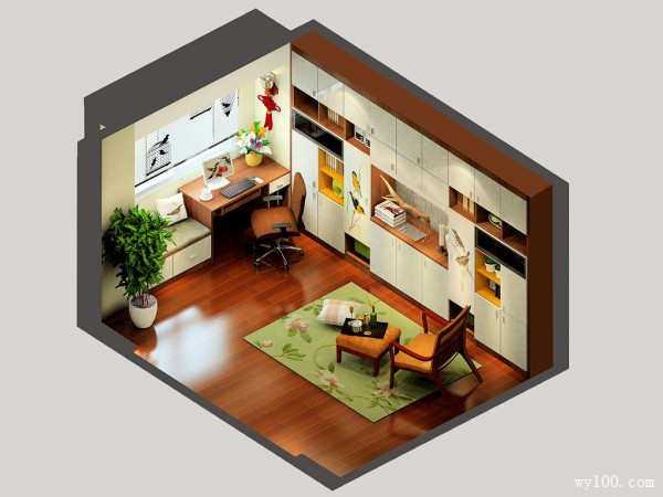 一字型整体书柜书房效果图 14�O复古的饰品_维意定制家具商城