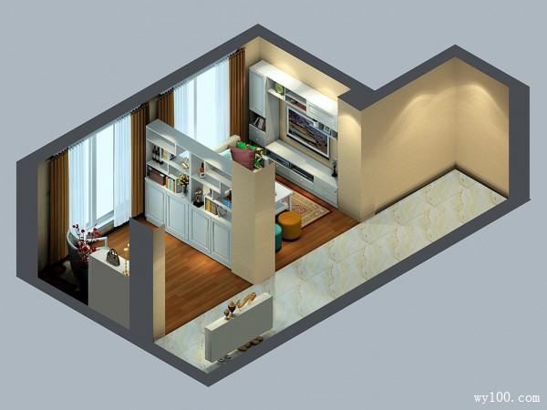 素雅客餐厅效果图 31�O置物玄关柜当隔断刚好_维意定制家具商城