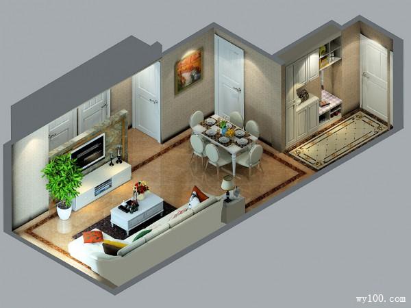 欧式客餐厅效果图 38�O巧用凹位打造玄关柜_维意定制家具商城