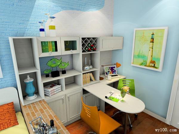 多功能书房效果图 10�O装下你全部书的整体书柜_维意定制家具商城