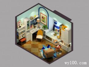 素雅书房效果图 8�O巧用飘窗打造小资阅读区_维意定制家具商城