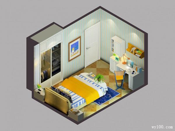 小户双人房效果图 12�O纵向布局不显拥挤_维意定制家具商城