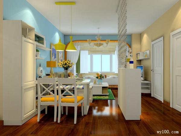 带阳台客餐厅效果图 27�O整体空间色调温和靓丽_维意定制家具商城