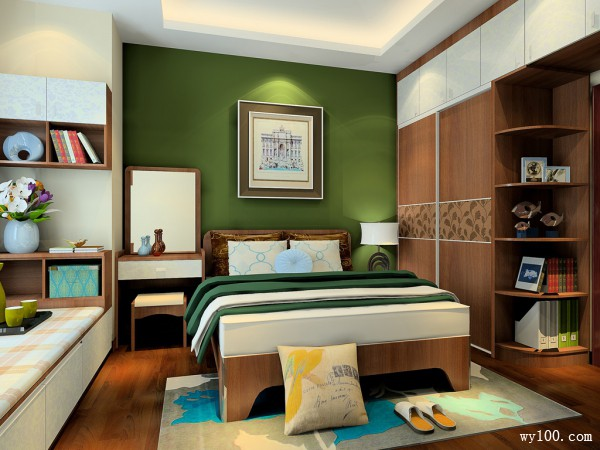 凹位利用卧室效果图 12�O设计了榻榻米休闲区_维意定制家具商城