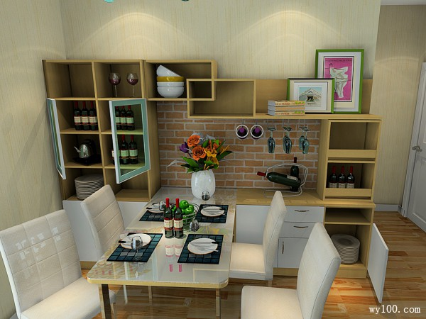 小型吧台客餐厅效果图 57�O让整体感觉大气,自然_维意定制家具商城