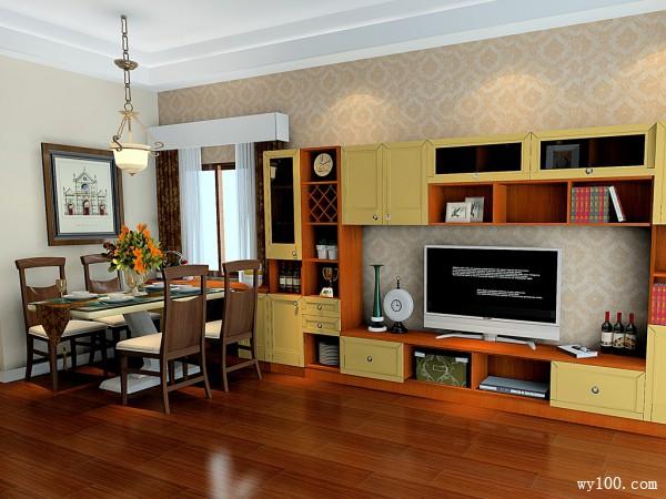 淡黄色墙纸客餐厅效果图 43�O一种青睐沉淀的感觉_维意定制家具商城