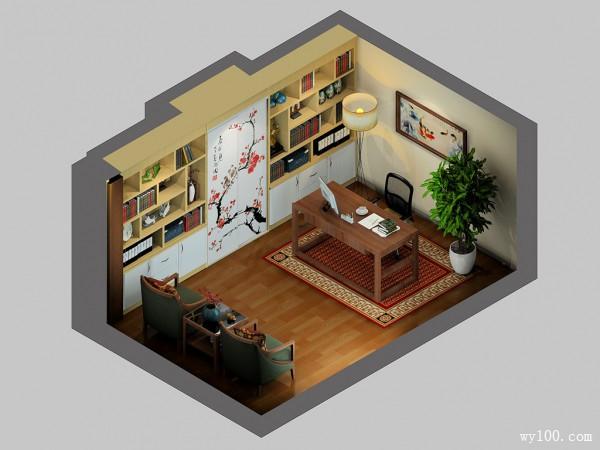 飘花书房效果图 14�O整个书房充满花香味道_维意定制家具商城