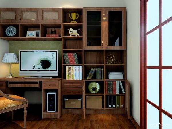 实木飘窗书房效果图 9�O空间最大化合理利用_维意定制家具商城