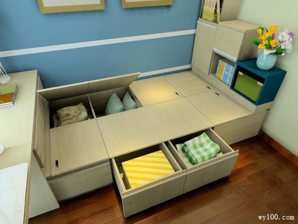 榻榻米书桌卧室效果图 7�O整体空间储物性强大_维意定制家具商城