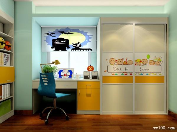 榻榻米书柜儿童房效果图 7�O充满了万圣节的气息_维意定制家具商城