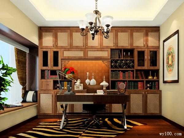 欧式装饰柜书房装修效果图