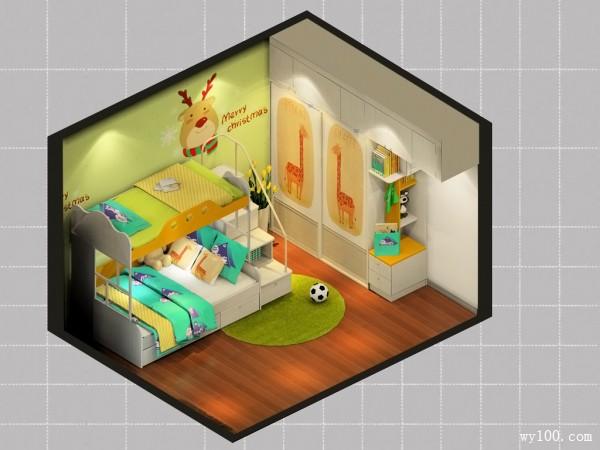 橙黄色儿童房效果图 12�O充满正能量_维意定制家具商城