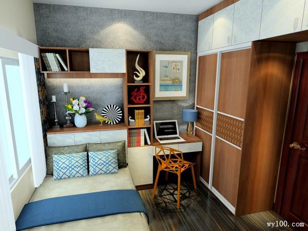 榻榻米书桌卧室效果图 7�O整体空间设计成稳_维意定制家具商城