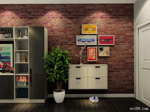 隔断铺砖客餐厅效果图 40�O红砖怀旧气息_维意定制家具商城