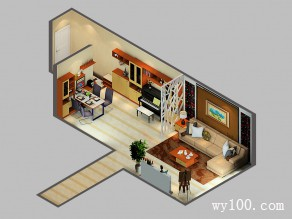 屏风客餐厅效果图 98�O进门鞋柜、展示柜完美组合_维意定制家具商城