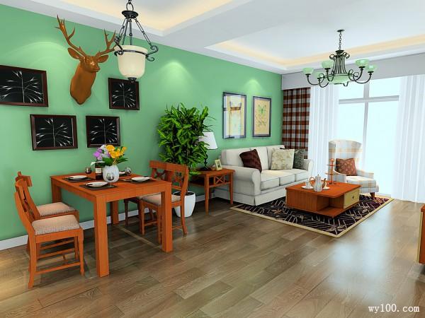 实木地板客餐厅效果图 46�O整体有一种怀旧氛围_维意定制家具商城