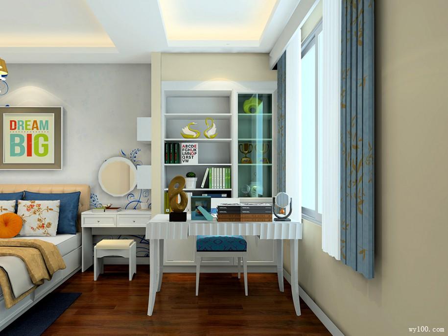 带办公桌卧室效果图 20㎡加以亮色的饰品点缀
