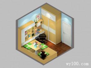 小书房榻榻米效果图 8�O搭配吊柜增加收纳功能_维意定制家具商城