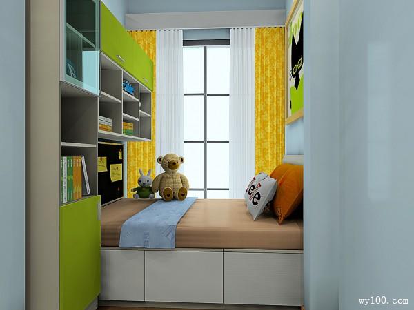 书柜飘窗儿童房效果图_维意定制家具商城