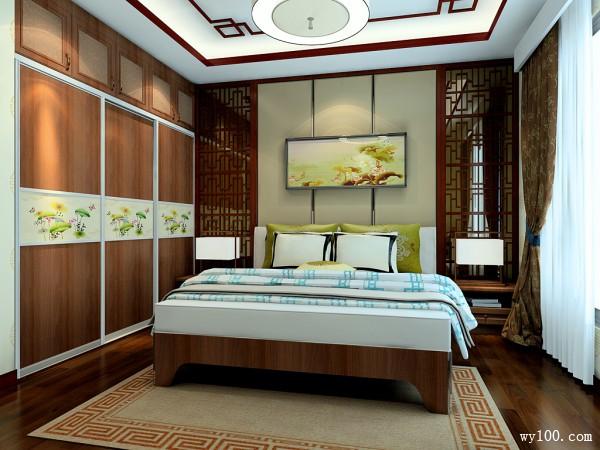红木隔断卧室效果图 22�O硬装背景墙的搭配_维意定制家具商城