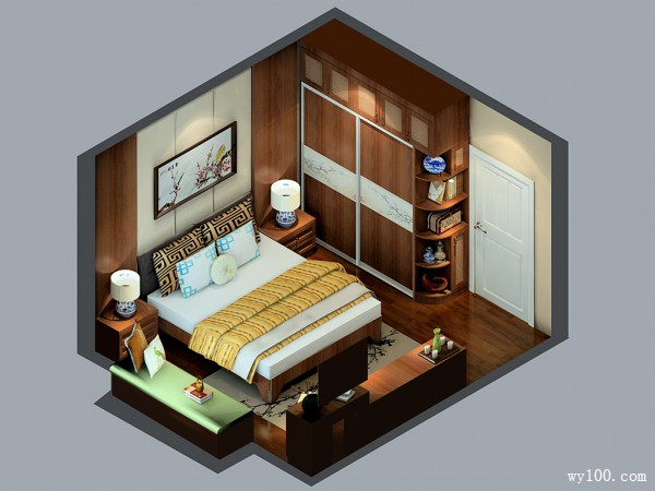 胡桃木背景墙卧室效果图 15�O空间充满高贵气质_维意定制家具商城