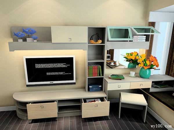 电视柜飘窗卧室效果图 17�O背景墙感觉更时尚_维意定制家具商城