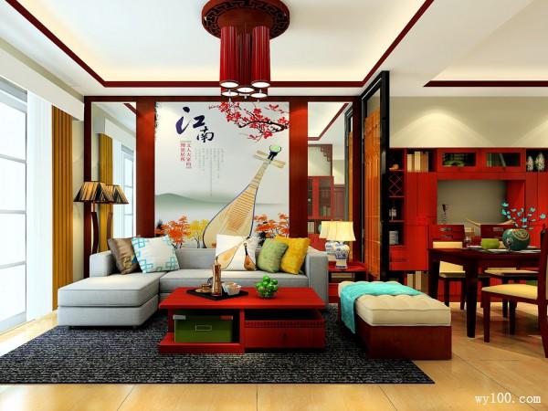 新中式客餐厅效果图 32�O结合经典掩艺的工艺_维意定制家具商城