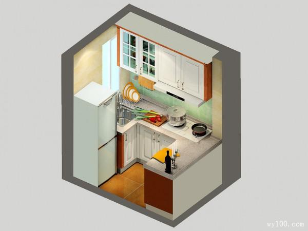 阳光厨房效果图 3�O使空间利用率增大_维意定制家具商城