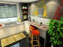u字形厨房效果图 10�O把凹位设计成吧台_维意定制家具商城