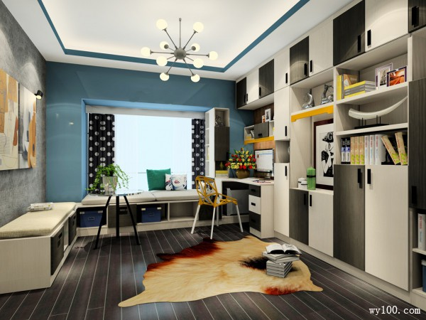 千层墨面板书房装修效果图 13�O斯德哥尔摩风格_维意定制家具商城