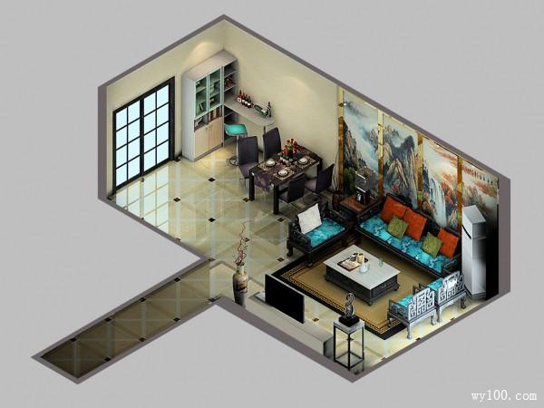 山水挂画客餐厅效果图 67�O背景墙让整体更加大气_维意定制家具商城