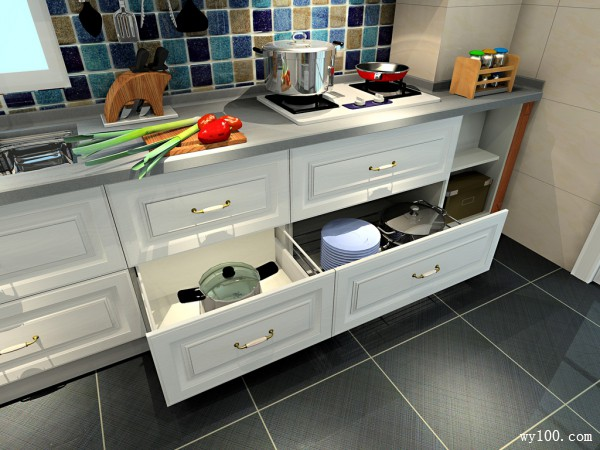 半开放式带吧台厨房效果图 11�O空间设计大方清新_维意定制家具商城