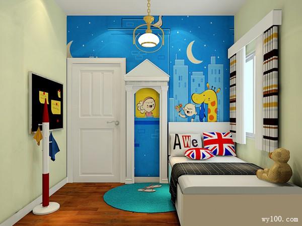 儿童房榻榻米效果图 5�O空间不大,但是比较方正_维意定制家具商城