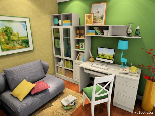 淡绿色书房效果图 6�O空间温馨惬意_维意定制家具商城