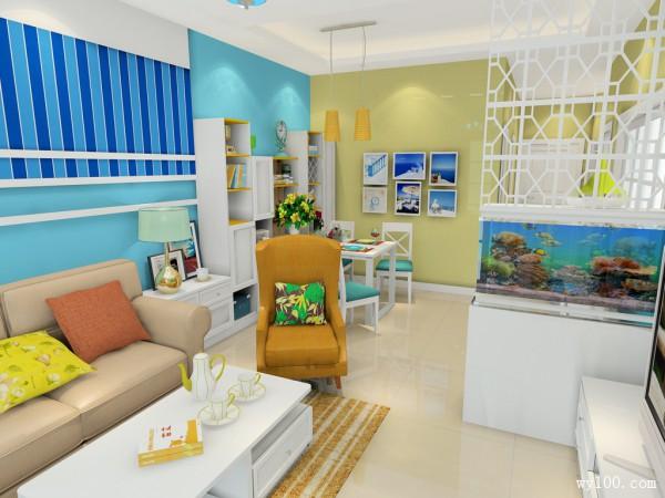 蓝色客餐厅效果图 26�O感受到一股清新自然的海风_维意定制家具商城