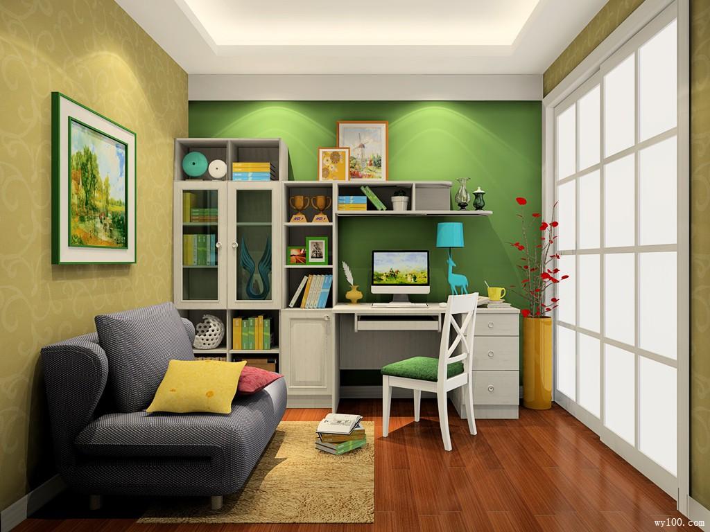绿色 书房 效果图