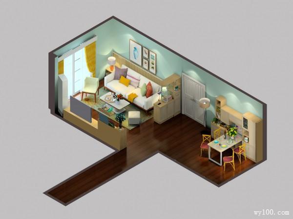 简约客餐厅一体效果图 30�O整个空间即清爽宜人_维意定制家具商城