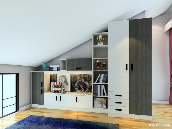 斜顶阁楼装卧室效果图 24�O时尚大气的摆设_维意定制家具商城